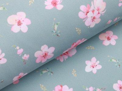 Softshell Jackenstoff Digitaldruck - Kirschblüten - mint