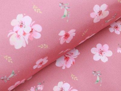 Softshell Jackenstoff Digitaldruck - Kirschblüten - altrosa