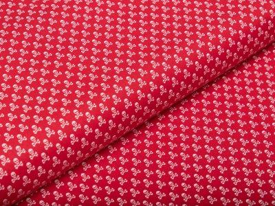 Webware Baumwolle - kleine Totenköpfe - rot