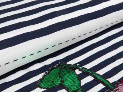Jersey PANEL ca. 70 x 150 cm - Applikation Wendepailetten Kirschen auf Streifen - dunkles blau/weiß