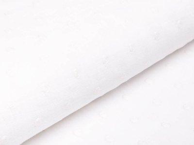 Webware Baumwolle Slub Stickerei - Punkte - weiß