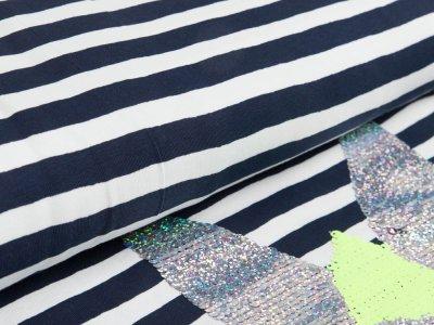Jersey PANEL ca. 70 x 150 cm - Applikation Wendepailetten niedliches Häschen auf Streifen - dunkles blau/weiß