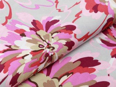 Webware Viskose - große Blumen - grau/pink