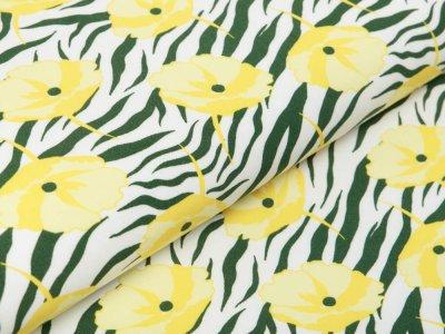 Webware Viskose - Blumen auf Animalprint Zebra - weiß/gelb