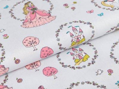 Webware Baumwolle Pretty Princess by Polly - Prinzessin im Blumenkranz - grau