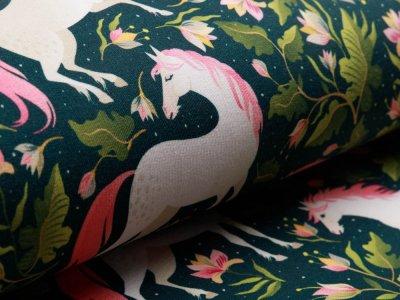 Angerauter Sweat Digitaldruck - hübsches Pferd und Blumen - dunkles grün