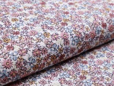 Webware Popeline Baumwolle Digitaldruck - Blumenmeer - weiß/braun
