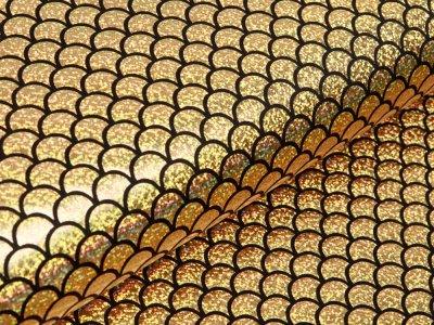 Jersey mit Foliendruck - funkelnde Hologramm Fischschuppen - goldfarben