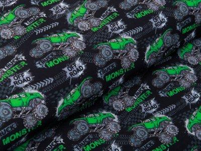 Softshell Jackenstoff - Monsterdrucks - schwarz