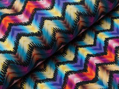 Jersey Digitaldruck - Zick-Zackmuster  - multicolor