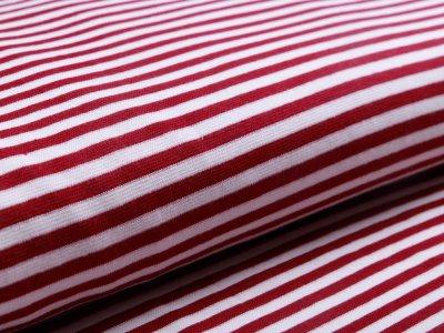 Glattes Bündchen im Schlauch breit gestreift - weinrot/wollweiß