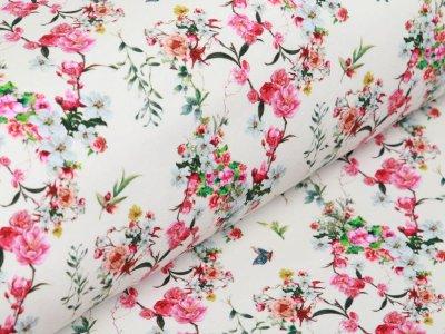 Jersey in Jeansoptik Digitaldruck Stenzo - Blumensträuße - wollweiß