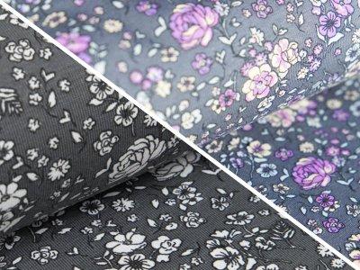 Jersey Farbwechsel Color Changing Print - Blumen - grau