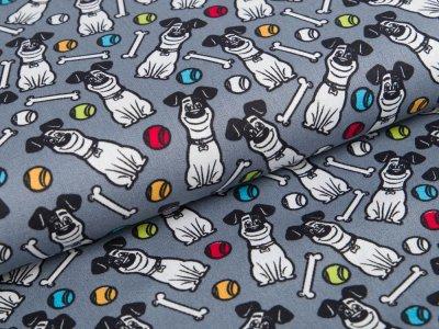 Webware Baumwolle Dreamworks - Pets - Hund Max - grau