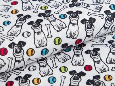 Webware Baumwolle Dreamworks - Pets - Hund Max - weiß