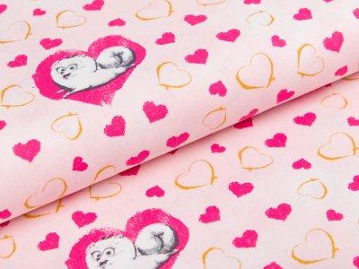 Webware Baumwolle Dreamworks - Pets - Hund Gidget mit Herzen - rosa