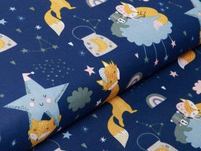 Webware Baumwolle - schlafende Füchse - nachtblau