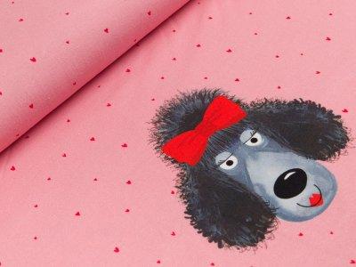 Jersey PANEL Digitaldruck ca. 65 x 150 cm - Pudeldame und kleine Herzen - rosa