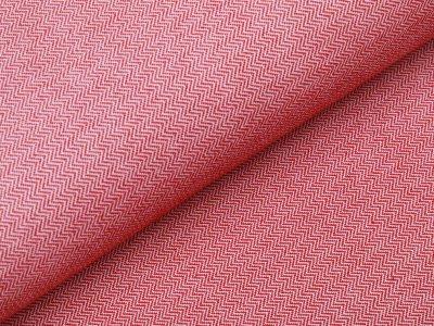 Jersey Jacquard Swafing Mauro - Chevrons - weiß/rot
