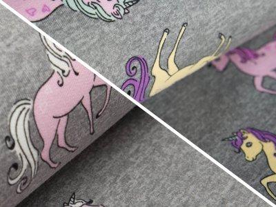Sweat French Terry Farbwechsel Color Changing Print - hübsche Einhörner - meliert grau