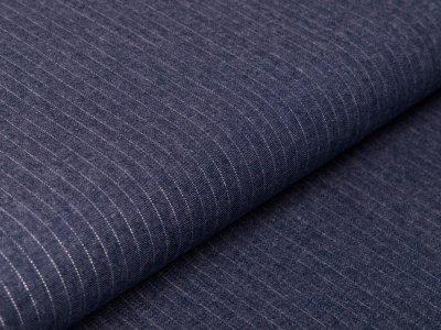 Leichter Jeansstoff mit Glitzerstreifen - Streifen - jeansblau/silber