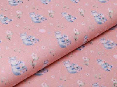 Webware Baumwolle Popeline Digitaldruck Aquarell - süße Hippos - rosa