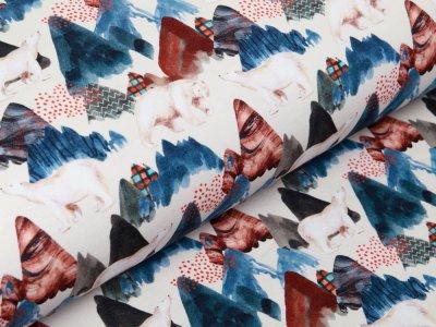 Sweat French Terry Digitaldruck Stenzo - Eisbären und Eisberge - weiß