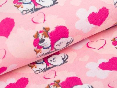 Jersey  Dreamworks - Pets - Hunde Max und Gidget mit Herzen  - rosa