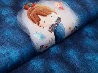 Sweat French Terry Digitaldruck Stenzo Lola Daisy PANEL ca. 75 cm x 150 cm - Lola auf Jeansoptik - denim