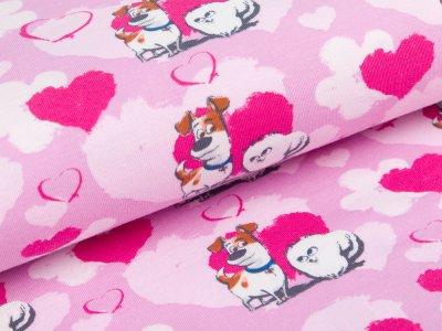 Jersey  Dreamworks - Pets - Hunde Max und Gidget mit Herzen  - helles lila