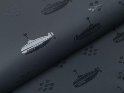 Regenjackenstoff - U-Boote - dunkles grau