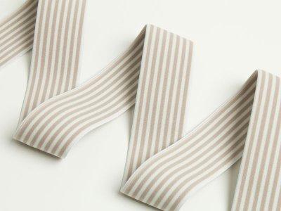 Breites Gummiband Streifen 40mm beige-weiß