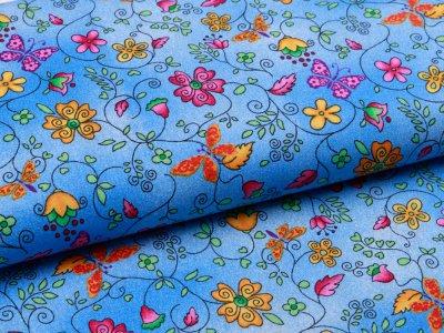 Webware Baumwolle - Schmetterlinge und Blumen - meliert blau