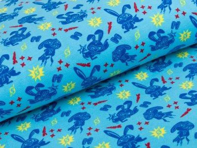 Angerauter Sweat French Terry Dreamworks - Pets - Superhelden Kaninchen Schneeball - blau