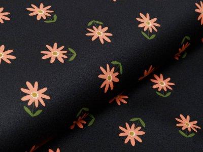 Beschichtete Webware by Poppy - Blumenwiese - schwarz