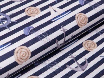 Canvas Digitaldruck by Poppy - Maritimer Look auf Streifen - weiß/dunkelblau