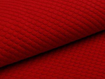 Jersey Jacquard - 3D Tupfen - rot