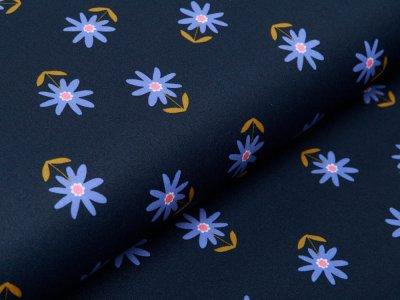 Beschichtete Webware by Poppy - Blumenwiese - navy