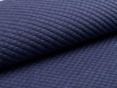 Jersey Jacquard - 3D Tupfen - jeansblau