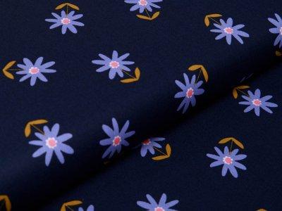 Webware Baumwolle Popeline by Poppy Flowers - Blumenwiese - navy