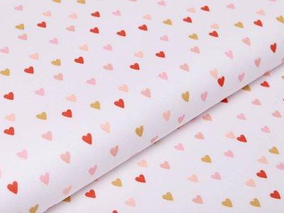 Webware Baumwolle Popeline by Poppy Lovely Rainbow Story - Herzchen - weiß
