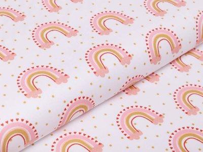 Webware Baumwolle Popeline by Poppy Lovely Rainbow Story - Regenbögen und mini Punkte - weiß