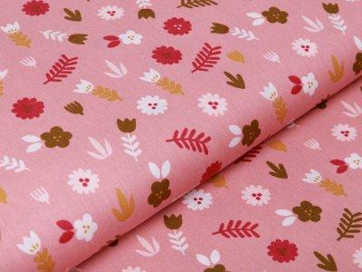 Webware Baumwolle Popeline by Poppy Lovely Rainbow Story - Blumen und Blätter - altrosa