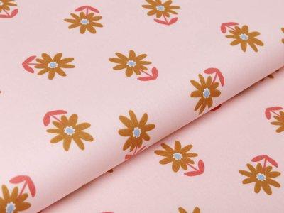 Webware Baumwolle Popeline by Poppy Flowers - Blumenwiese - lachs