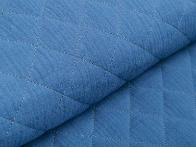 Musselin Double Gauze Rautenstepper - uni jeansblau