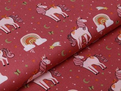 Webware Baumwolle Popeline by Poppy Unicorns and Rainbows - niedliche Einhörner - altrosa