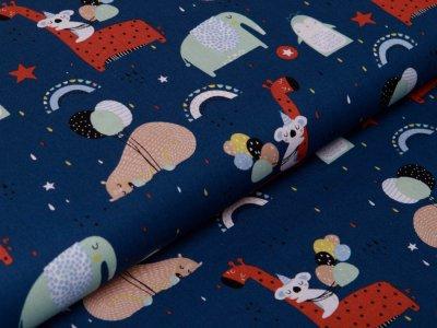 Webware Baumwolle Popeline by Poppy Sweet Animals and Balloons - Tierfreunde und Luftballons - dunkles jeansblau