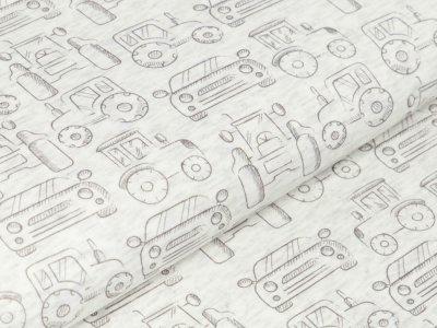 Alpenfleece Melange - verschiedene Fahrzeuge - meliert wollweiß