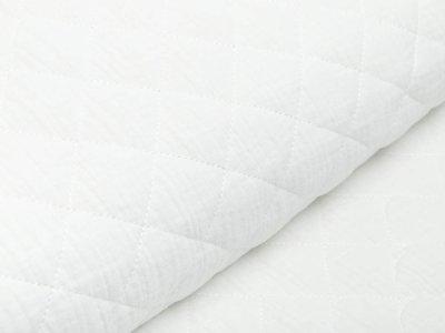 Musselin Double Gauze Rautenstepper - uni wollweiß