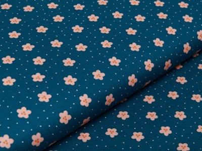 Webware Baumwolle Popeline by Poppy Lovely Rainbow Story - Blümchen und mini Punkte - petrol